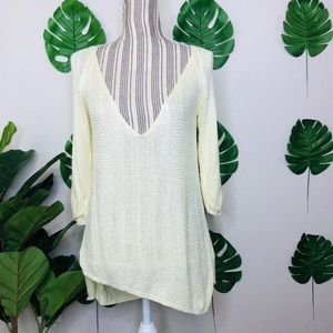 Zara Knit Crochet Asymmetrical Hem Low Sweater